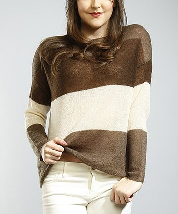 Brown & Ivory Stripe Sweater