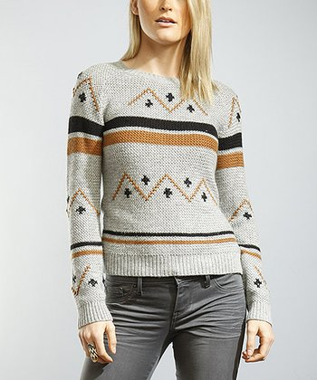 Gray Tribal Embroidered Rack Stitch Sweater