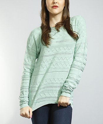 Mint Pointelle Sweater