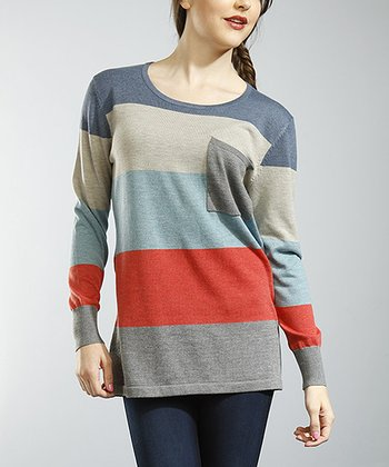 Gray & Red Stripe Penny Pocket Tunic