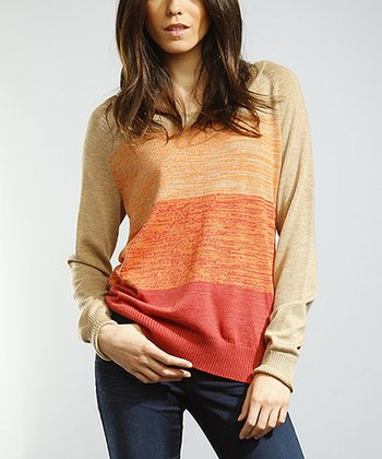 Rust Stripe Marled Sweater Tunic