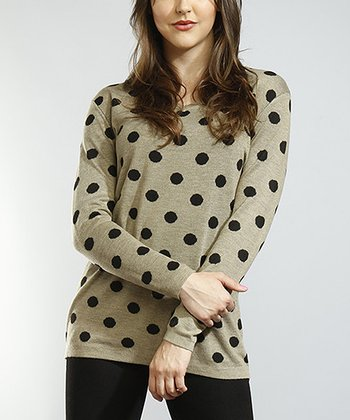 Beige & Black Polka Dot Jacquard Knit Top