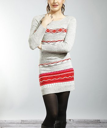 Gray & Red Tribal Stripe Sweater Dress