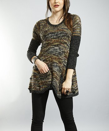 Black & Gold Marled Sweater Tunic