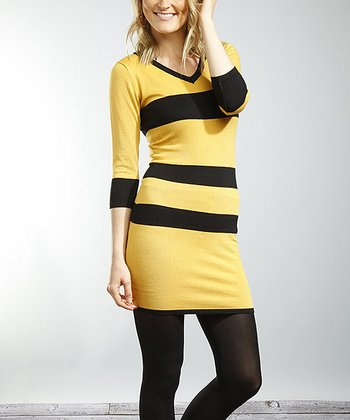 Mustard & Black Stripe V-Neck Sweater Dress