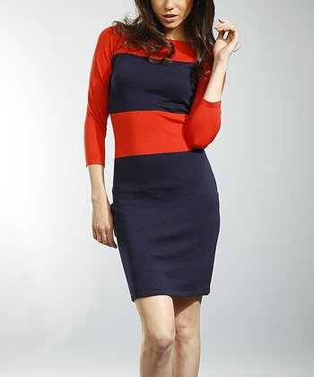 Red & Navy Color Block Dress