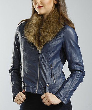 Blue Faux Fur Moto Jacket