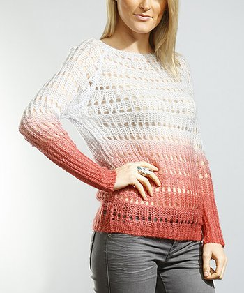 Purple Ombré Open Knit Dolman Sweater