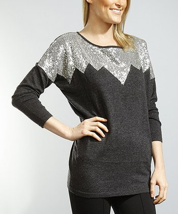Black & Silver Sequin Top