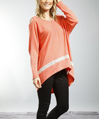 Coral & Ecru Cutout Hi-Low Swing Top