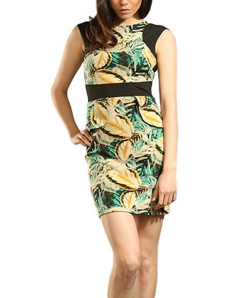 Green & Gold Foliage Dress