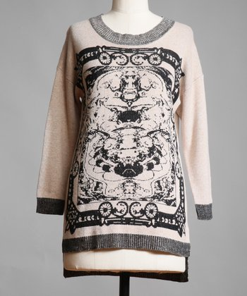 Beige & Black Rorschach Hi-Low Sweater