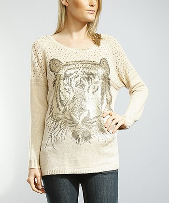 Champagne Tiger Eyelet Sweater