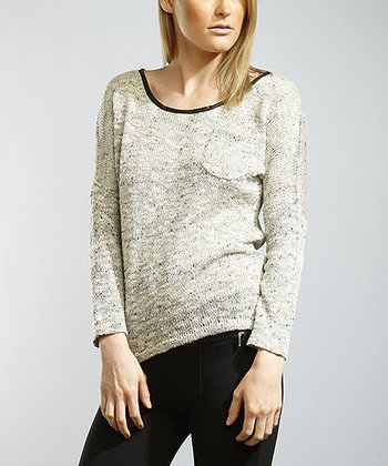 Gray Scoop Neck Sweater