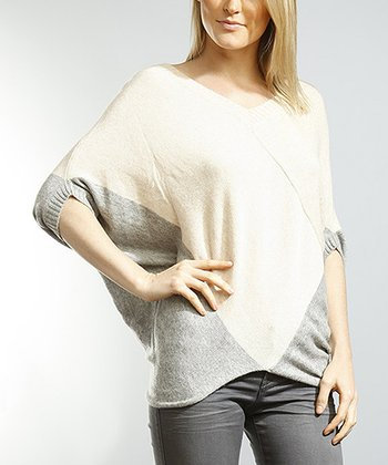 Beige & Gray Color Block Dolman Sweater