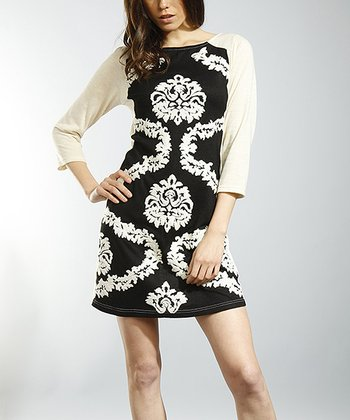 Ecru & Black Arabesque Boatneck Dress