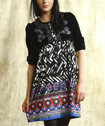 Black & Purple Embroidered Dress