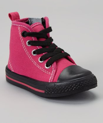 Fuchsia & Black Zipper Hi-Top Sneaker