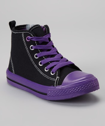 Black & Purple Zipper Hi-Top Sneaker