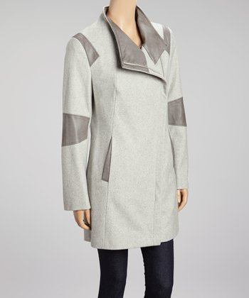 Light Gray Color Block Wool-Blend Coat