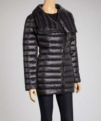 Black Quilted Asymmetrical-Zip Jacket