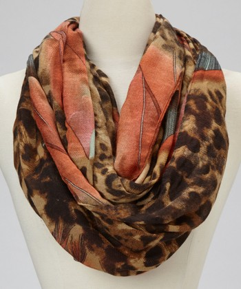 Brown Leopard Feather Infinity Scarf