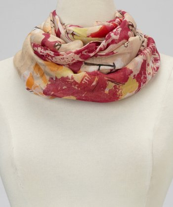 Beige Paris Map Infinity Scarf