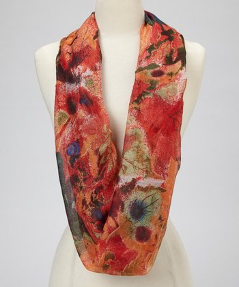 Red Watercolor Tree Leaves Infinity Scarf