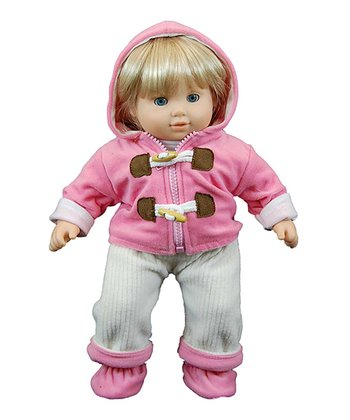 Pink Baby Doll Velour Pants Set
