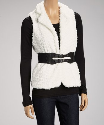Cream & Black Belted Vest