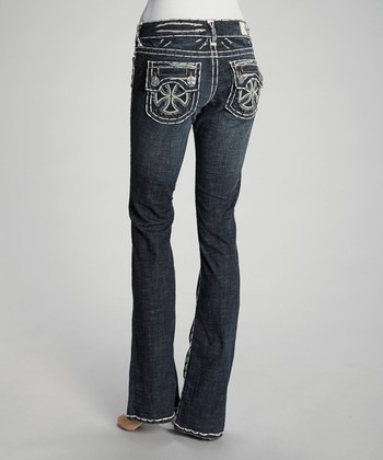 Blue Capistrano Beach White Stitch Bootcut Jeans