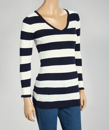 Navy & Ivory Stripe V-Neck Sweater