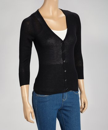 Black Ribbed Three-Quarter Sleeve Cardigan