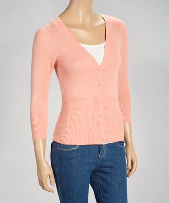 Peach V-Neck Cardigan