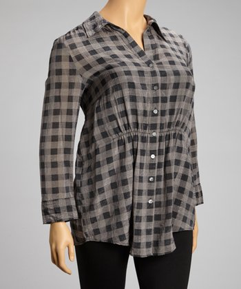 Black & Gray Plaid Button-Up Tunic - Plus