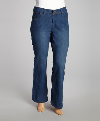 Medium Blue Wash Fade-Out Bootcut Jeans - Plus
