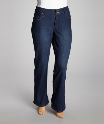 Dark Wash Fade-Out Bootcut Jeans - Plus