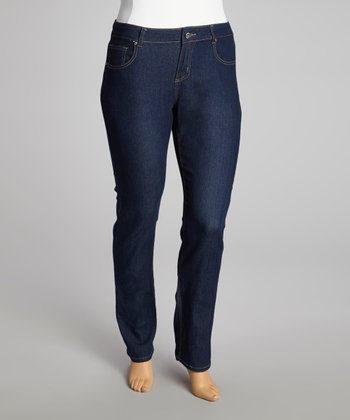 Dark Blue Butterfly Skinny Jeans - Plus