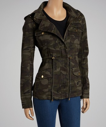 Dark Olive Camo Studded Jacket