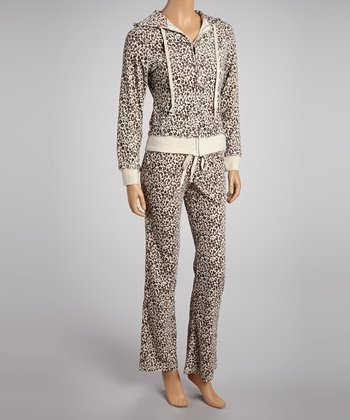 Heather Beige Leopard Jacket & Lounge Pants