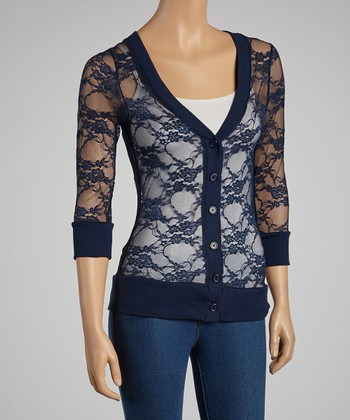 Navy Lace Cardigan