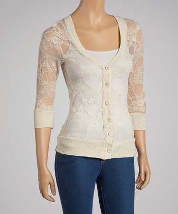 Heather Beige Lace Cardigan
