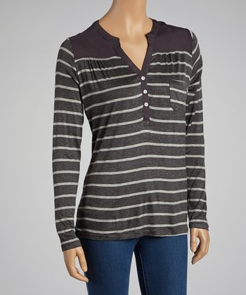Charcoal & Heather Gray Stripe Henley