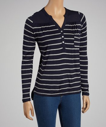 Navy & Heather Gray Stripe Henley