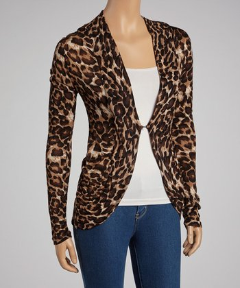 Brown Leopard Hacci Open Cardigan