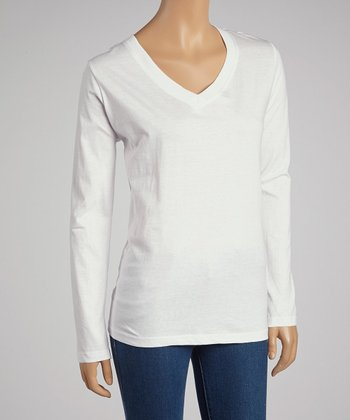 White V-Neck Long-Sleeve Top
