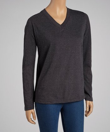 Charcoal V-Neck Long-Sleeve Top