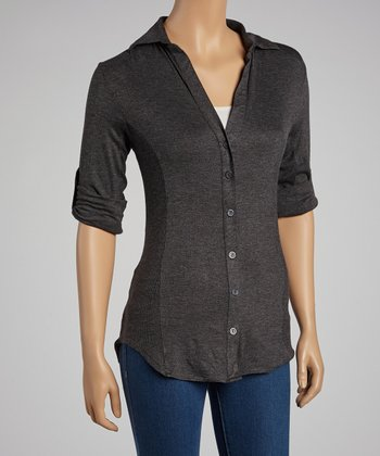 Charcoal Button-Up