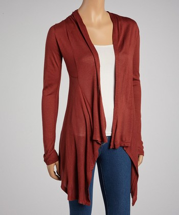 Dark Rust Hacci Open Cardigan