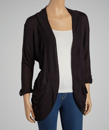 Black Roll-Tab Sleve Open Cardigan